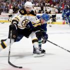 """Boston's stretch drive acquisitions included defenseman Tomas Kaberle, forward Rich Peverley, and Kelly, who brought toughness, defensive reliability, and some scoring from the Senators on Feb. 15 for a 2011 second-round pick. """"I've obviously had a connection with him in my time with Ottawa,"""" Bruins GM Peter Chiarelli told NHL.com. """"He's a high-character person. He plays both ways. We needed a centerman that's going to give us some depth, and Chris can give us that and he can play up and down the lineup."""" During the Bruins' run to the Stanley Cup, the versatile Kelly appeared in 25 games, scoring five goals and 13 points with a solid +11 rating as a valuable """"glue guy"""" for Boston."""