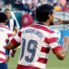 """Wondolowski stole the show in the U.S. men's soccer team's 6-1 victory over Belize, sporting an extra """"W"""" - """"Wondowlowski"""" - on his red and white jersey when he popped in his three goals to open the CONCACAF Gold Cup tournament Tuesday night, July 9, 2013."""