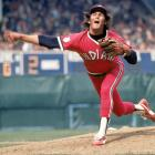 A pre-mustached Dennis Eckersley shows off the bright red Indians uniforms of the late '70s.