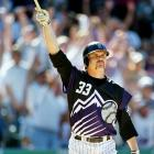 "Larry Walker shows off this ""futuristic"" Rockies uniform, which the team wore for one game during the 1999 season."