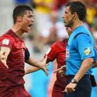 Cristiano Ronaldo, of Portugal yells at the referee during the Group G match against Germany.