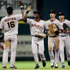 """Sportswriters and fans alike had a field day after the Giants-Astros game on April 7, 2010, during which Eugenio Velez made his season debut wearing a jersey with San Francisco spelled incorrectly. Quipped The AP: """"Maybe they left his shirt in """"San Fran-cic-so."""""""