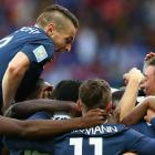 Mathieu Debuchy (left) of France celebrates after a shot from Karim Benzema of France went in off Noel Valladares of Honduras to score an own goal against Honduras on June 15.
