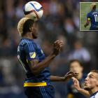 """On a night when nothing went right for the LA Galaxy, the jersey of forward Gyasi Zardes was misspelled with a """"Z"""" at the end of his name during a 2-0 loss the the Vancouver Whitecaps on April 4, 2015."""
