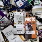 A collection of the various media passes Frakes has accumulated over the years. He has covered been at the Kentucky Derby 31 times, at the Preakness 28, and at Belmont 25.