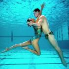 The American sychronized swimming duo of Billy May and Kristina Lum, photographed during practice.