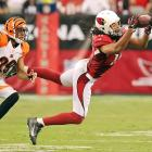 Despite this catch, wideout Larry Fitzgerald and his Cardinals lost, 19-13, to the Bengals on August 24.