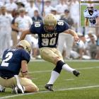 As if kickers don't have enough trouble getting respect, Matt Harmon had to wear a misspelled Navy jersey (inset) during a game in Stanford on Sept. 16, 2006.