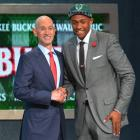 Considered the safest prospect in the draft, Parker goes classic with a sleek, gray suit.