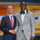 Randle is red-carpet ready for L.A. in this slate gray tuxedo jacket with black bow tie.
