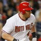 """In a game against the Marlins on April 17, 2009, the Washington Nationals sent their two best hitters, Adam Dunn (pictured) and Ryan Zimmerman, onto the field wearing """"NATINALS"""" jerseys for three innings."""