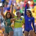 Jennifer Lopez, rapper Pitbull and singer Claudia Leitte perform during the Opening Ceremony at Arena de Sao Paulo on June 12.