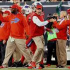 """Rex Ryan was fired by the Jets after six seasons and immediately hired by Buffalo in January 2015. In Ryan's return to the Meadowlands on Thursday night his defense had two interceptions, recovered a fumble and stopped the Jets inside the Bills 10 in the final minutes — prompting some vigorous fist pumps Ryan repeated, along with a flying headset, when Bacarri Rambo clinched a 22-17 Bills victory over New York with a last-minute pick. """"I can tell the truth, this thing is kind of like being dumped by some girl you have the hots for,"""" Ryan said to reporters at an overflowing news conference. """"Every guy in this room has been dumped by a girl. You move on, and every now and then, they call you back. And they can't have you back."""""""