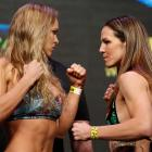 Ronda Rousey faces off with Alexis Davis during the UFC 175 weigh-in inside the Mandalay Bay Events Center in Las Vegas.