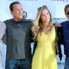 "Kelsey Grammer, Arnold Schwarzenegger, Ronda Rousey and Sylvester Stallone pose during a photocall for ""The Expendables 3"" at the 67th edition of the Cannes Film Festival in Cannes, southern France."