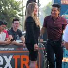 Ronda Rousey is seen with Mario Lopez of Extra at Universal CityWalk in Los Angeles.