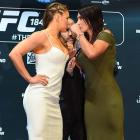 Ronda Rousey and Cat Zingano face off during the UFC 184 Ultimate Media Day in Los Angeles.