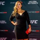 Ronda Rousey arrives at the UFC Time Is Now press conference in Las Vegas.