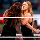 Ronda Rousey and Stephanie McMahon at WrestleMania 31 in Santa Clara.