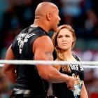Ronda Rousey and the Rock at WrestleMania 31.
