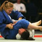 Ronda Rousey and Anastasia Krivosta compete in their 63 kg. match during the U.S. Olympic Team Trials in Judo at the San Jose State University Event Center in California.  Rousey won the match to move on in the competition.