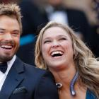 Actor Kellan Lutz and Ronda Rousey arrive for the screening of The Homesman at the 67th international film festival.