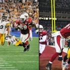 That inexplicable thing called momentum probably never felt so real and fateful as it did on a remarkable 100-yard interception for a touchdown by Steelers NFL defensive MVP James Harrison. It happened on the final play of the first half, turning a likely four-point Cardinals lead into a 10-point edge by the renowned Steelers. But Kurt Warner and Larry Fitzgerald refused to fold, leading the way to a 23-20 edge late in the fourth quarter. And then just as suddenly, Ben Roethlisberger found Santonio Holmes four times in what would be the game-winning drive, including a tip-toeing touchdown reception as Pittsburgh won its second Super Bowl in four seasons, and record sixth.