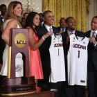 The UConn women and men won national basketball championships in 2014 and made a joint visit to the White House to be honored by President Obama.