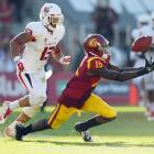 USC's wide receiver Nelson Agholor makes a catch against Fresno State safety Derron Smith on Aug. 30.