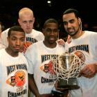 After winning the 2007 National Invitational Tournament, the Mountaineers were congratulated with WEST VIRGINA shirts. Not a jersey, but still, very awkward.