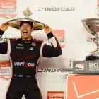 Will Power of Australia celebrates after winning the 2014 IndyCar Championship at the Auto Club Speedway.