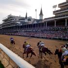 California Chrome pulls away from the field down the final stretch at the Kentucky Derby.