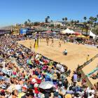 Lauren Fendrick with a spike in front of a monster crowd during the women's final.