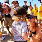 Casey Jennings (L) and wife Kerri Walsh Jennings celebrate her Open championship with their kids.