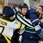 """Canucks winger Alex Burrows appeared to bite the right finger of Bruins center Patrice Bergeron during the first game of the 2011 Stanley Cup finals. Bergeron was seen wearing a bandage on his finger after the game. Mike Murphy, the NHL's Senior Vice President of Operations, announced the following day that Burrows would not be suspended for the incident. """"After reviewing the incident, including speaking with the on-ice officials, I can find no conclusive evidence that Alex Burrows intentionally bit the finger of Patrice Bergeron,"""" Murphy wrote in a release issued by the NHL."""