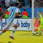 Angel di Maria watches his game-winning goal get by Switzerland goalkeeper Diego Benaglio in extra time of their round-of-16 match.