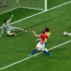 Brazil's Marcelo, right, scores an own goal to give Croatia a 1-0 lead.