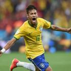 Neymar celebrates after scoring Brazil's first goal of the World Cup in a 3-1 win over Croatia in the competition's opening game.