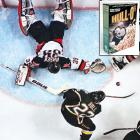 The man who won the Stanley Cup for the Stars with a controversial goal in the 1999 final ended up on a box of his own frosted toasted oats breakfast treats. No, his skate wasn't in the cereal.