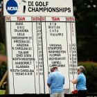 Duke stands atop the leaderboard midway through the final round at the Women's Golf National Championship.  The Lady Blue Devils would hold on to win their sixth women's team championship.