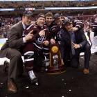 """Members of the Union (N.Y.) men's hockey team celebrate after winning the Men's Hockey National Championship.  In a classic """"David versus Goliath"""" tale, Union College (enrollment: 2,200) defeated Minnesota (enrollment: 48,000) 7-4 to capture its first-ever title."""