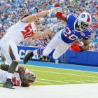Buffalo running back C.J. Spiller is thrown out of bounds by linebacker Dane Fletcher during the Bills' 27-14 loss to the Bucs on Saturday, August 23. Fletcher was called for unnecessary roughness.