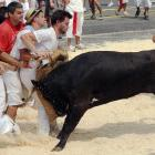 The traditional running of the bovines on Saint-Andre square in Bayonne (southwestern France, not New Jersey).
