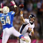 The Broncos had a 2-3 record to start Peyton Manning's first season with the team. The Chargers jumped out to a 24-0 lead at halftime, and Denver's playoff hopes looked like they were about to take another hit. But Manning tossed three second-half touchdowns and Denver's defense scored twice en route to a 35-24 win. It was the first of 11 straight wins by the Broncos to end the regular season. Denver also had overcome a 24-point deficit in 1979 against the Seahawks.