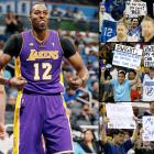 """Orlando fans showed up in droves to express their displeasure with Howard, making signs calling him a coward and """"Kobe's kid"""" and booing him every time he touched the ball. Howard responded to the animosity with one of his strongest performances of the year, scoring a season-high 39 points with 16 rebounds and tying his NBA record with 39 free throw attempts. At one point Howard jawed with the Magic bench, but the night ended on a kinder note as the Lakers center shook hands with the Magic's Jameer Nelson after Los Angeles' 106-97 victory."""