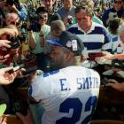"To Cowboys running back Emmitt Smith: ""What are you going to wear in the game Sunday?"""