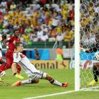 Germany's Miroslav Klose touches home an equalizer against Ghana to salvage a 2-2 draw, while tying Brazil's Ronaldo for most all-time World Cup goals (15) in the process.