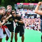 Mario Goetze takes a photo of Ron-Robert Zieler, Jerome Boateng, Lukas Podolski, Per Mertesacker and Mesut Oezil.