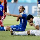 With Uruguay chasing a result it would eventually get, Suarez appeared to bite Italy defender Giorgio Chiellini, marking the third time he has sunk his teeth into an opponent. Suarez is under intense scrutiny for just about everything he does, so the fact that this is an issue again is just an asinine development. Chiellini pulled his shirt down to show the marks to referee Marco Rodriguez -- who, ironically, is nicknamed ChiquiDracula -- but Suarez was not disciplined for the incident. The powers that be at FIFA might act differently.