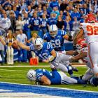 The Indianapolis Colts stormed back from a 38-10 deficit to defeat Kansas City 45-44 in a wild card playoff game in the 2013 playoffs. Quarterback Andrew Luck trimmed the Chiefs lead by recovering a fumble and scoring on this dive into the end zone.